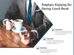 Employee Enjoying Tea During Lunch Break Ppt PowerPoint Presentation Gallery Format Ideas PDF