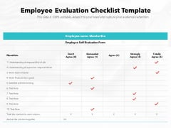 Employee Evaluation Checklist Template Ppt PowerPoint Presentation File Icon PDF