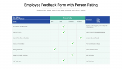 Employee Feedback Form With Person Rating Ppt PowerPoint Presentation File Example PDF