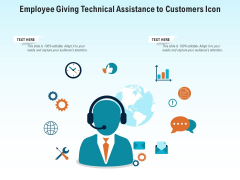 Employee Giving Technical Assistance To Customers Icon Ppt PowerPoint Presentation File Guidelines PDF