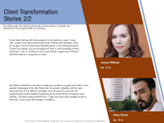 Employee Health And Fitness Program Client Transformation Stories Structure PDF