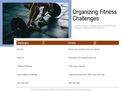 Employee Health And Fitness Program Organizing Fitness Challenges Clipart PDF