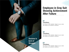 Employee In Gray Suit Showing Achievement After Failure Ppt PowerPoint Presentation Styles Professional