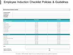 Employee Induction Checklist Policies And Guidelines Ppt PowerPoint Presentation Ideas Aids