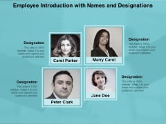 Employee Introduction With Names And Designations Ppt Powerpoint Presentation Portfolio Guidelines
