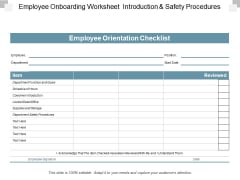 Employee Onboarding Worksheet Introduction And Safety Procedures Ppt PowerPoint Presentation Icon Format