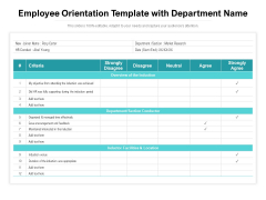 Employee Orientation Template With Department Name Ppt PowerPoint Presentation File Professional PDF