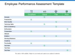 Employee Performance Assessment Template Ppt PowerPoint Presentation Infographic Template Slide Portrait