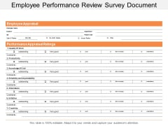 Employee Performance Review Survey Document Ppt Powerpoint Presentation Styles Sample