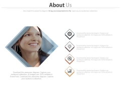Employee Picture With Four Icons Powerpoint Slides