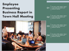 Employee Presenting Business Report In Town Hall Meeting Ppt PowerPoint Presentation Model Vector PDF