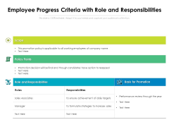 Employee Progress Criteria With Role And Responsibilities Ppt PowerPoint Presentation File Visual Aids PDF