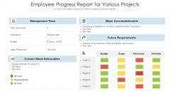 Employee Progress Report For Various Projects Ppt PowerPoint Presentation Slides Display PDF