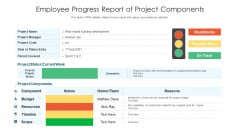 Employee Progress Report Of Project Components Ppt PowerPoint Presentation Ideas Background Designs PDF