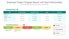 Employee Project Progress Report With Sprint Deliverables Ppt PowerPoint Presentation Infographic Template Design Ideas PDF