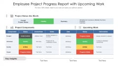 Employee Project Progress Report With Upcoming Work Ppt PowerPoint Presentation File Example Introduction PDF