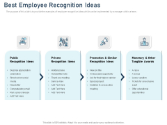 Employee Recognition Award Best Employee Recognition Ideas Ppt PowerPoint Presentation Show Example PDF