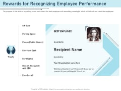 Employee Recognition Award Rewards For Recognizing Employee Performance Ppt PowerPoint Presentation Show Samples PDF