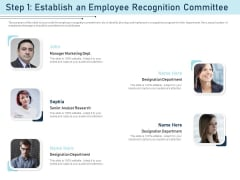 Employee Recognition Award Step 1 Establish An Employee Recognition Committee Ppt PowerPoint Presentation Gallery Images PDF