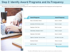 Employee Recognition Award Step 2 Identify Award Programs And Its Frequency Ppt PowerPoint Presentation Summary Outfit PDF