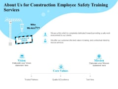 Employee Safety Health Training Program About Us For Construction Employee Safety Services Clipart PDF
