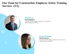 Employee Safety Health Training Program Our Team For Construction Employee Safety Services Background PDF