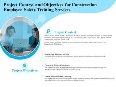 Employee Safety Health Training Program Project Context And Objectives For Construction Services Graphics PDF