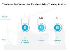 Employee Safety Health Training Program Timeframe For Construction Employee Safety Services Themes PDF