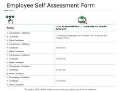 Employee Self Assessment Form Management Ppt PowerPoint Presentation Microsoft