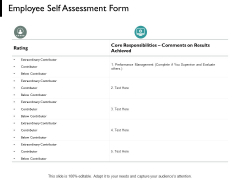 Employee Self Assessment Form Performance Management Ppt PowerPoint Presentation Model Information