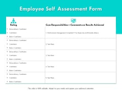 Employee Self Assessment Form Ppt PowerPoint Presentation Gallery Deck