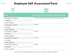 Employee Self Assessment Form Ppt PowerPoint Presentation Ideas Show