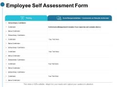 Employee Self Assessment Form Ppt PowerPoint Presentation Model Example