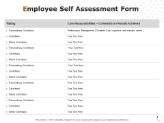 Employee Self Assessment Form Ppt PowerPoint Presentation Model Graphics Example