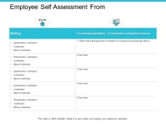 Employee Self Assessment From Ppt PowerPoint Presentation Pictures Influencers
