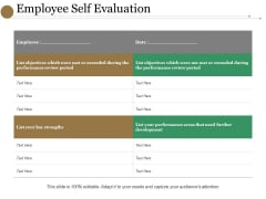 Employee Self Evaluation Ppt PowerPoint Presentation File Background Designs