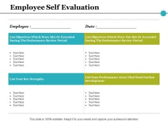 Employee Self Evaluation Ppt PowerPoint Presentation Infographic Template Smartart