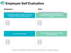 Employee Self Evaluation Ppt PowerPoint Presentation Visual Aids Layouts
