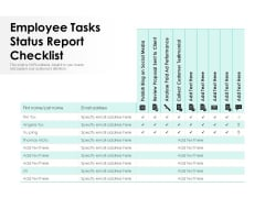 Employee Tasks Status Report Checklist Ppt PowerPoint Presentation Ideas Influencers PDF