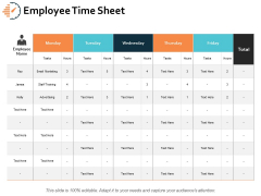 Employee Time Sheet Ppt PowerPoint Presentation File Visual Aids