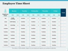 Employee Time Sheet Ppt PowerPoint Presentation Ideas Background Image