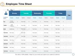 Employee Time Sheet Ppt PowerPoint Presentation Model