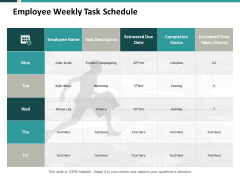 Employee Weekly Task Schedule Ppt PowerPoint Presentation File Design Templates