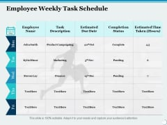 Employee Weekly Task Schedule Ppt PowerPoint Presentation Ideas Example Introduction