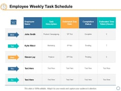 Employee Weekly Task Schedule Ppt PowerPoint Presentation Infographic Template Visual Aids