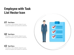 Employee With Task List Vector Icon Ppt PowerPoint Presentation Gallery Templates PDF