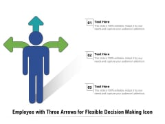 Employee With Three Arrows For Flexible Decision Making Icon Ppt PowerPoint Presentation Layouts Influencers PDF