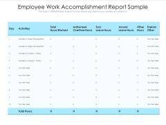 Employee Work Accomplishment Report Sample Ppt PowerPoint Presentation Styles Background Designs PDF