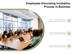 Employees Discussing Incubation Process In Business Ppt PowerPoint Presentation Slides Influencers PDF