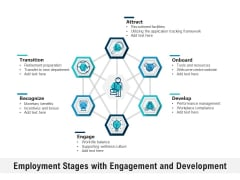 Employment Stages With Engagement And Development Ppt PowerPoint Presentation Icon Gallery PDF
